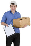 Man in baseball cap with cardboard box Royalty Free Stock Photography