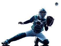 Man baseball player silhouette isolated Stock Images