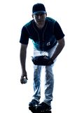 Man baseball player silhouette isolated Royalty Free Stock Image