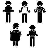 Man Basic Posture People Icon Sign Clothing business. Stitch figures black  icon Clothing Costume business Stock Photos