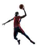Man basketball player jumping dunking silhouette. One african man basketball player jumping dunking in silhouette isolated white background
