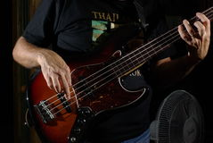 Man with bass guitar Royalty Free Stock Images