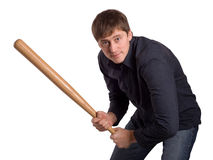 Man with bat. Man with a bat isolated on a white background Royalty Free Stock Image