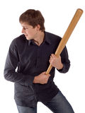 Man with bat. Man with a bat isolated on a white background Stock Photography