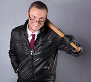 Man with a bat royalty free stock image