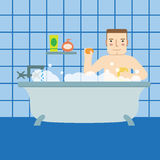 A man in the bath.Flat icon. Royalty Free Stock Images