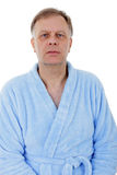Man in bath robe stock images