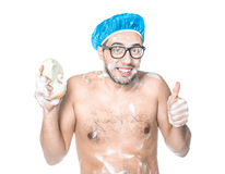 Man bathing in a bathroom Royalty Free Stock Photography
