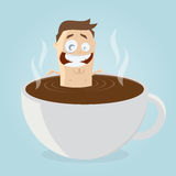 Man bathing in a cup of coffee. Funny cartoon man bathing in a cup of coffee Royalty Free Stock Photo