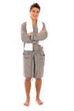 Man in bathrobe stock photos