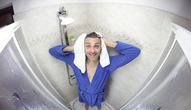 Man in  bathrobe Stock Image