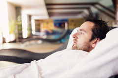 Man in bathrobe Royalty Free Stock Image