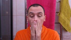 Man in bathroom in morning after waking up. man asleep in the bathroom