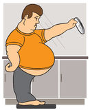 Man on Bathroom Scales. Obese man using mirror to see around his stomach Stock Images
