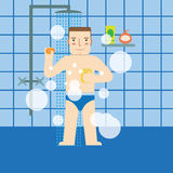 The man in the bathroom taking a shower. Royalty Free Stock Photography