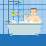The man in the bathroom taking a shower. Royalty Free Stock Photos