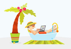 Man in bathtub relaxing. Cartoon character Royalty Free Stock Photography