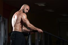 Fitness Battling Ropes At Gym Workout Fitness Exercise Royalty Free Stock Photos