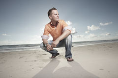 Man on the beach Royalty Free Stock Photo