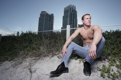 Man on the beach Royalty Free Stock Photo