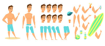 Man on beach. Character animation, creation set. Guy in shorts with phone, surfboard, ball, sunscreen, cocktail, water bottle. Parts of body for design you Royalty Free Stock Image
