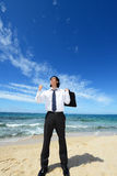 Man on the beach enjoy sunlight Royalty Free Stock Photography