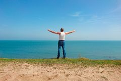 Man on the beach Stock Photography