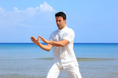 Man on the beach meditating Stock Photography