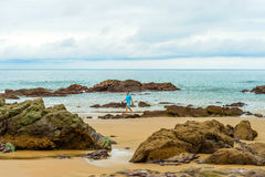 Man on the beach in Pedasi, Panama. Royalty Free Stock Images