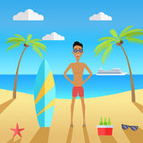 Man on Beach with Sand and Palm Royalty Free Stock Images