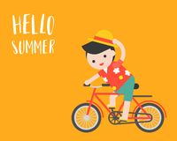 Man with beach shirt riding a bicycle, hello summer concept. Man with beach shirt riding a bicycle, hello summer flat design concept vector illustration