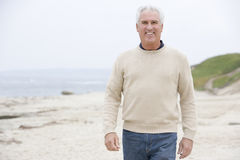 Man at the beach smiling Stock Images