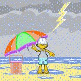 Man on the beach with storm and lightning Royalty Free Stock Photography
