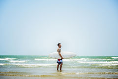 Man Beach Summer Holiday Vacation Surfing Concept stock photo