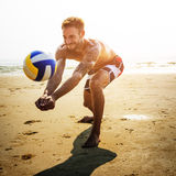 Man Beach Summer Holiday Vacation Volleyball Concept Stock Photography