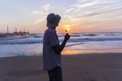 Man Beach Sunrise Silhouetted Royalty Free Stock Photos