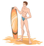 Man on beach with surfboard Royalty Free Stock Images