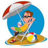 Man on the beach. Vector illustration Royalty Free Stock Photography