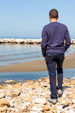 Man On The Beach Watching Over Horizon Royalty Free Stock Photo