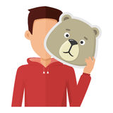 Man with Bear Mask Flat Design Vector Illustration. Man character in red sweatshirt with bear mask in hand vector. Flat design. Masquerade animal clothing and Stock Images