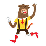 Man in a bear suit. Red boots and a tiger tail. Vector illustration on white background Stock Images
