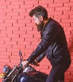 Man with beard, biker in leather jacket near motor bike in garage, brick wall background. Start of journey concept. Hipster, brutal biker on serious face in royalty free stock photography