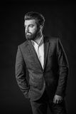 Man with beard, black and white Stock Photography