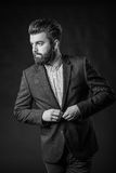 Man with beard, black and white Royalty Free Stock Image