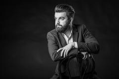 Man with beard, black and white Stock Photos
