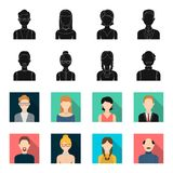 A man with a beard, a businesswoman, a pigtail girl, a bald man with a mustache.Avatar set collection icons in black. Flet style vector symbol stock Royalty Free Stock Photography