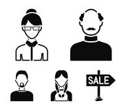 A man with a beard, a businesswoman, a pigtail girl, a bald man with a mustache.Avatar set collection icons in black. Style vector symbol stock illustration Stock Image