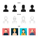 A man with a beard, a businesswoman, a pigtail girl, a bald man with a mustache.Avatar set collection icons in black. Flat,outline style vector symbol stock Royalty Free Stock Photography