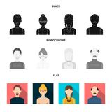 A man with a beard, a businesswoman, a pigtail girl, a bald man with a mustache.Avatar set collection icons in black. Flat, monochrome style vector symbol Royalty Free Stock Photo