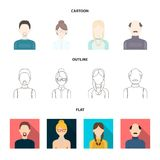A man with a beard, a businesswoman, a pigtail girl, a bald man with a mustache.Avatar set collection icons in cartoon. Outline,flat style vector symbol stock Stock Photos